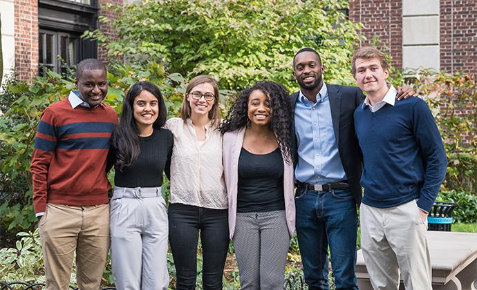 (Left to right) Davis Polk Fellows Ibrahim Diallo '20, Meher Dev '19 LL.M., Meg Gould '21, Udodilim Nnamdi '21, Caleb King '20, Eric Lenier Ives '19