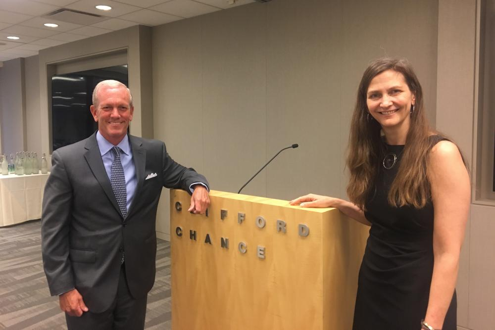 Nick Williams '88, partner and chair of the hiring committee at Clifford Chance, and Columbia Law School Professor Elizabeth Emens.