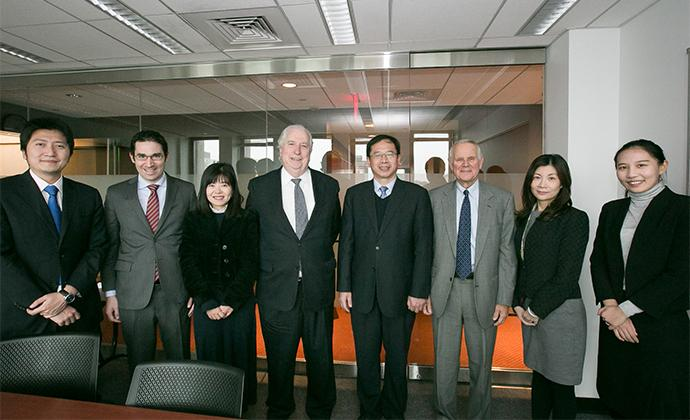 (Left to right) Sheng Zhang, Staff, Department of Legal Affairs (CSRC); CLS Prof. Josh Mitts; Juan Luo, Division Director, Office of Administrative Sanctions (CSRC); CLS Prof. John Coffee; Hehong Cheng, Director-General, Department of Legal Affairs (CSRC); CLS Prof. Merritt Fox; Yan Fu, Director, Legal Department, Shenzhen Stock (CSRC); and Ran Yi, Staff, Department of International Affairs (CSRC)
