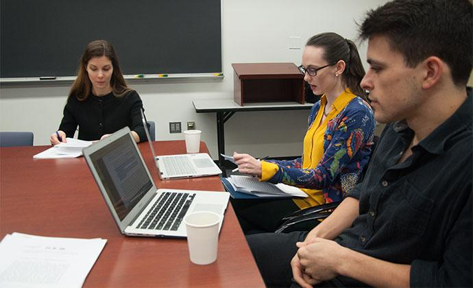 Professor Jessica Bulman-Pozen, left, with Jessica Bernhardt '19 and Luke Rebecchi '18, both students in the practicum.