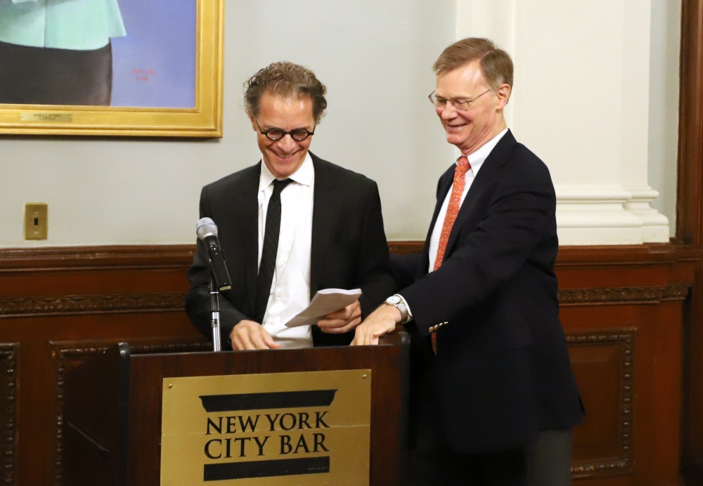 Bernard E. Harcourt receives his award at the July 25 ceremony in New York City.