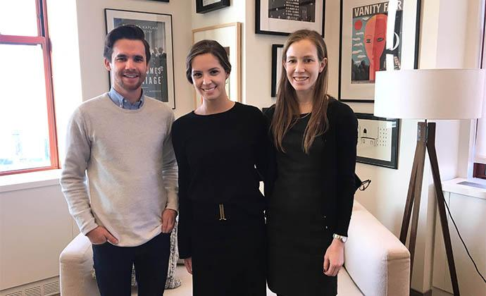(Left to right) Kaplan & Company has three Columbia Law School graduates as associates: Thomas A. Bland '17 LL.M., Emily Cole '14, and Kyla P.S. Magun '17.