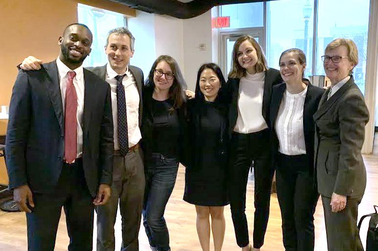 Members of the Challenging the Consequences of Mass Incarceration Clinic after their day in court. (Left to right) Caleb King '20, Tyler Finn '19, Mary Marshall '20, Sarah Hong '20, Hayley Malcolm '19, Ruth O'Herron '19, and Professor Brett Dignam.