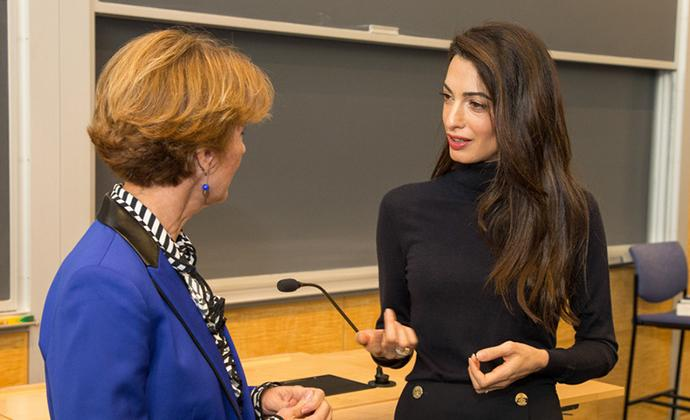Professor Sarah Cleveland and Amal Clooney co-teach a Law School course on international human rights.
