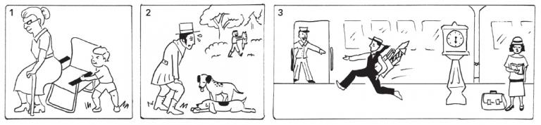 In panel 1, a little boy removes a chair from a woman about to sit down. In panel 2, a man with dogs see another man carrying away a fox. In panel 3, a man carrying a parcel of fireworks runs on a train platform.
