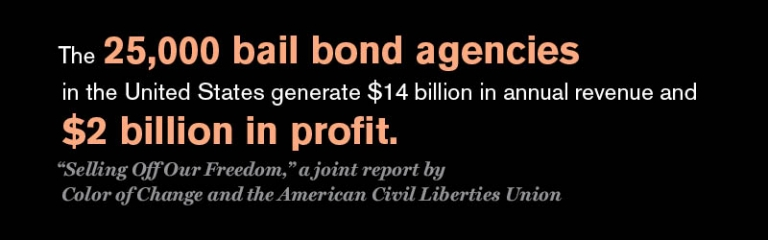 "The 25,000 bail bond agencies in the United States generate 4 billion in annual revenue and $2 billion in profit. Source: Selling Off Our Freedom,"" a joint report by Color of Change and the American Civil Liberties Union"