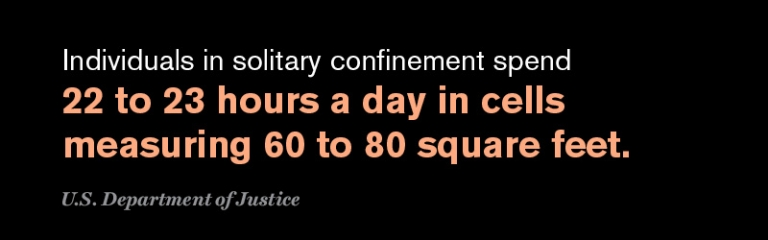 Individuals in solitary confinement spend 22 to 23 hours a day in cells measuring 60 to 80 square feet.