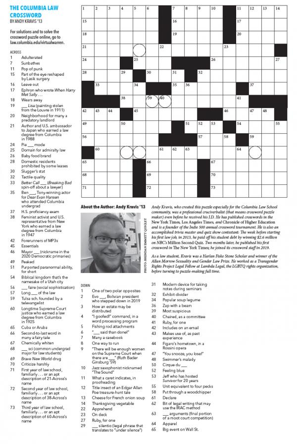 Crossword puzzle by Andy Kravis
