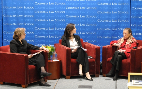 Ruth Bader Ginsburg seated with Gillian Metzger and Abbe Gluck