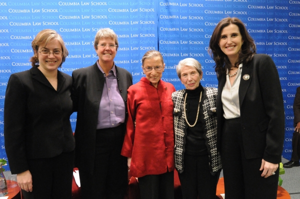 Gillian Metzger, Katherine Franke, Justice Ruth Bader Ginsburg, Ginsburg's cousin Jacqueline Schonbrun, and Abbe Gluck (left to right)