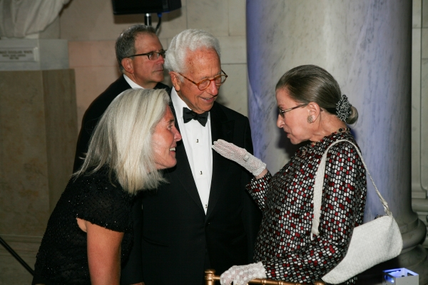 Ira Millstein greets Ruth Bader Ginsburg at the Supreme Court gala dinner