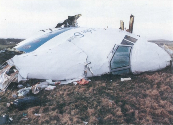 Airplane wreckage in a field