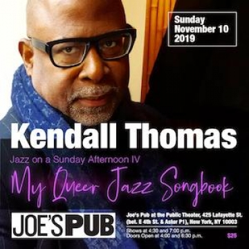 A poster for Kendall Thomas show at Joe's Pub