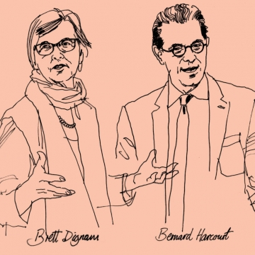Line art drawing of professor Brett Dignam and Bernard Harcourt